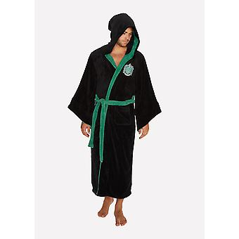 Mens Harry Potter Slytherin Fleece Bathrobe Dressing Gown Official Licensed Merchandise