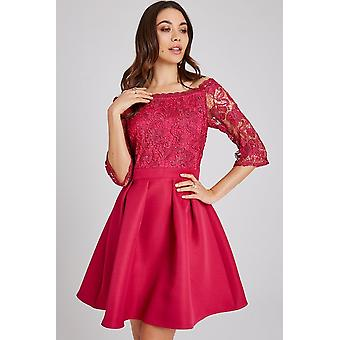 Die kleine Herrin Frances Hot Pink Lace Bardot Skater Dress