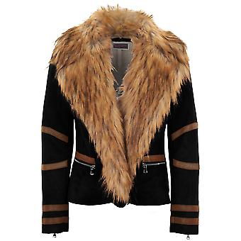 Ladies Long Sleeve Faux Fur Collar Wool Lined Suede PVC Stripe Biker Jacket