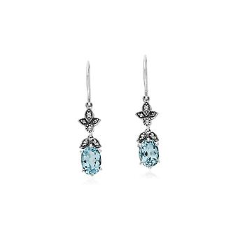 Gemondo Sterling Silver Blue Topaz & Marcasite Oval Art Nouveau Drop Earrings