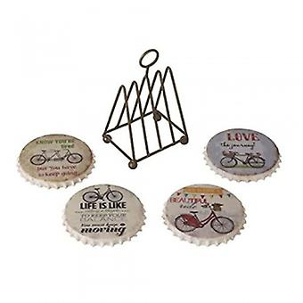 Heaven Sends Bicycle Coasters In Wire Rack.