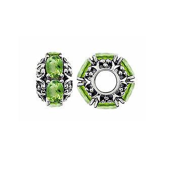 Storywheels Oxidised Silver & Peridot Wheel Charm S383P