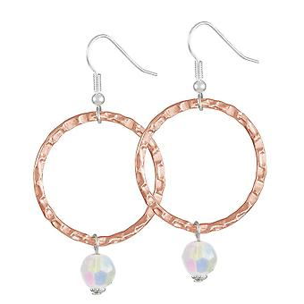 Eternal Collection Infinito Rose Gold And Aurora Borealis Crystal Drop Hoop Earrings