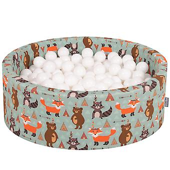 Kiddymoon Baby Ballpit With Balls ∅ 7Cm / 2.75In Certified Made In EU, Fox
