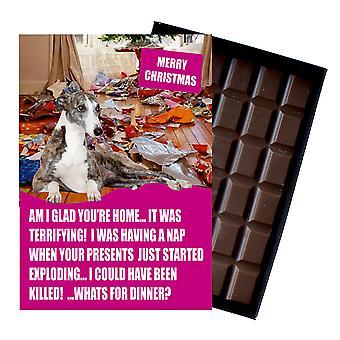 WhippetFunny gift van Kerstmis voor hond minnaar boxed chocolade wenskaart xmas aanwezig