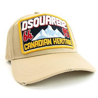 Dsquared2 kanadensiska Heritage patch broderade baseball mössa taupe