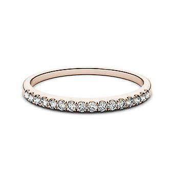 14K Rose Gold Forever One 1.3mm Round Wedding Band, 0.16cttw DEW