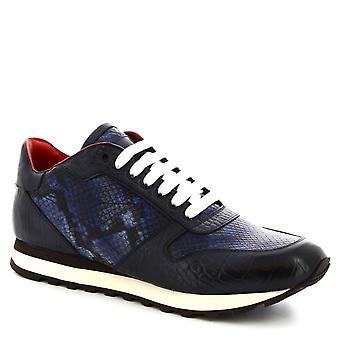 Leonardo Shoes Men-apos;s lacets faits à la main chaussures bleu cuir de veau imprimé crocodile