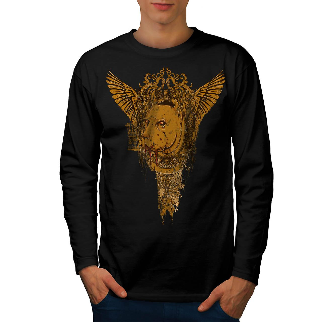 Blood Dog Bite Fear Horror Hound Men Black Long Sleeve T-shirt | Wellcoda