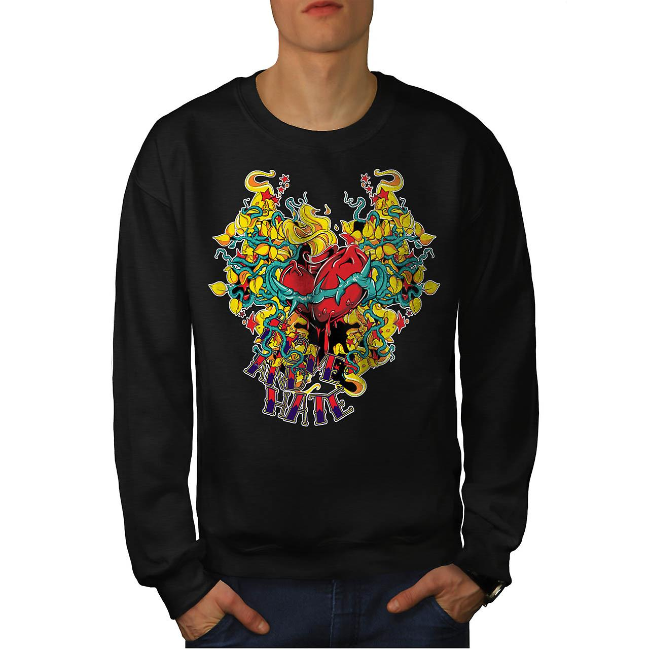 Love And Hate Heart Beat Life Men Black Sweatshirt | Wellcoda
