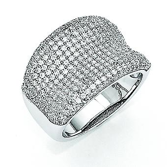 Sterling Silver Pave Rhodium-plated and Cubic Zirconia Fancy Polished Ring - Ring Size: 6 to 8