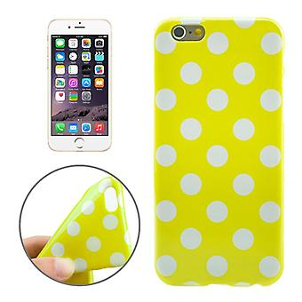 TPU back cover sleeve dotted for phone Apple iPhone 6 yellow / white