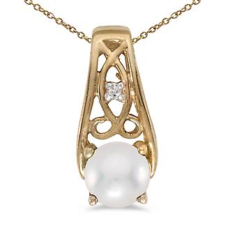 10k Yellow Gold Freshwater Cultured Pearl And Diamond Pendant with 16