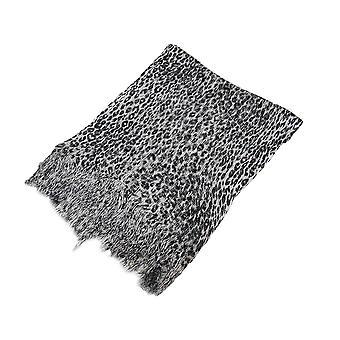 Schwarz und grau Metallic Leopard Print leichten Poncho