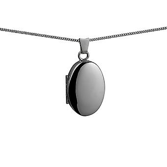 Silver 22x15mm plain oval Locket with a curb Chain 16 inches Only Suitable for Children