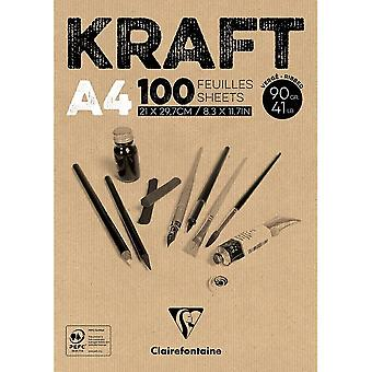 Claire Fontaine Brown Kraft Pad 100 Sheets 90g | Sizes Listed
