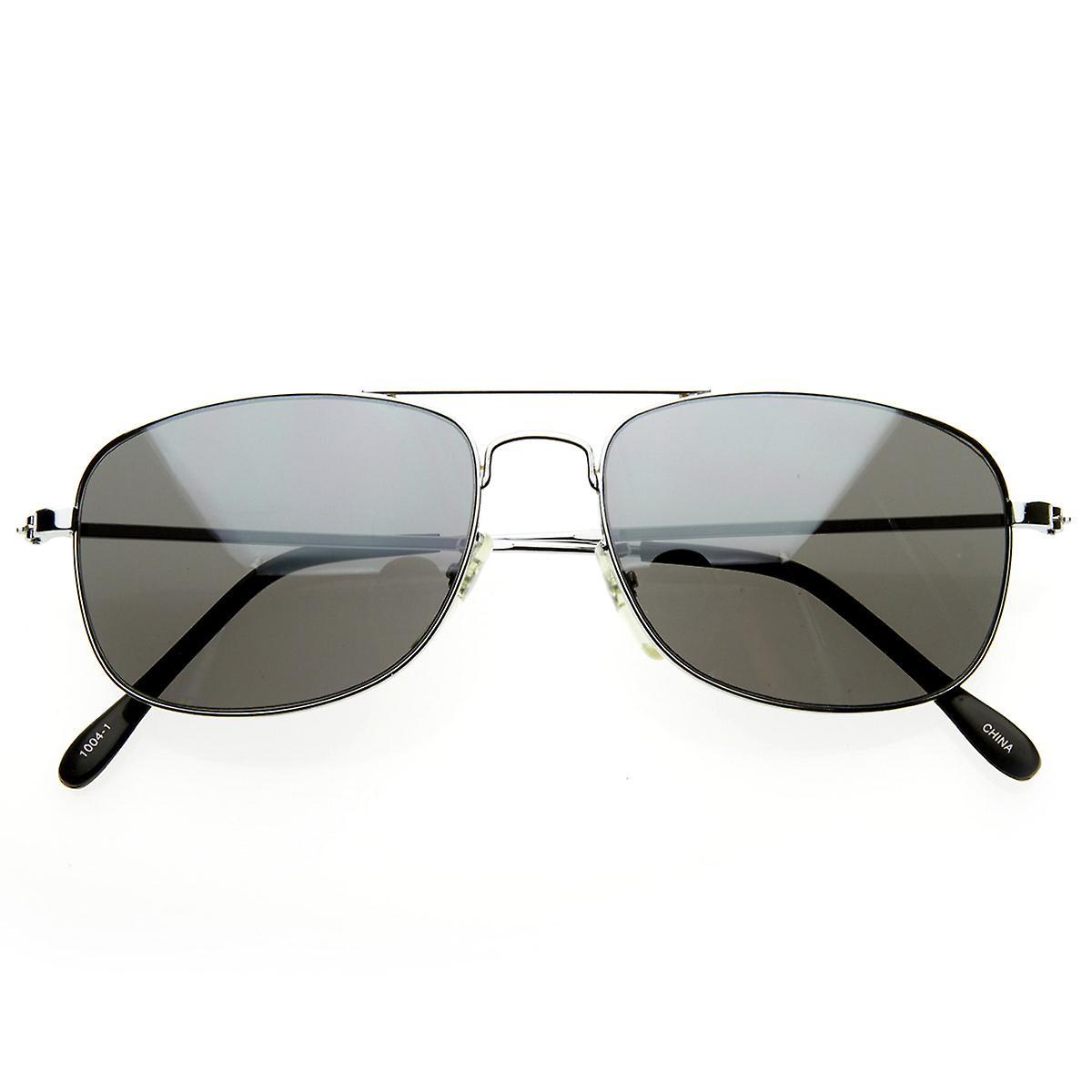 AVIATORS Classic Square Wire Metal Aviator Sunglasses w/ Mirrored Lens