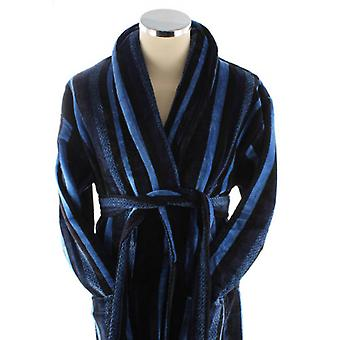 Bown of London Salcombe Egyptian Cotton Velour Dressing Gown - Blue/Navy