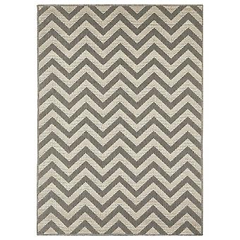 Outdoor carpet for Terrace / balcony grey natural white Contemporary zigzag grey Ivory 133 / 190 cm carpet indoor / outdoor - for indoors and outdoors