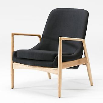 Thai Natura Natural Wood Armchair and Black Fabric