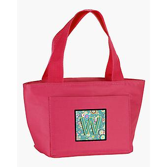 Letter W Circle Circle Teal Initial Alphabet Lunch Bag