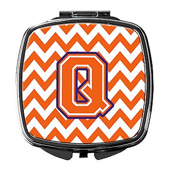 Letter Q Chevron Orange and Regalia Compact Mirror
