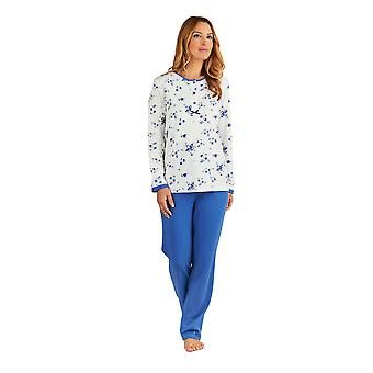 Slenderella PJ8137 Women's Blue Floral Pajama Long Sleeve Pyjama Set