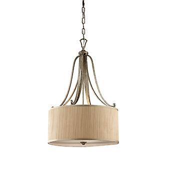 FE/ABBEY/P Abbey 3 Light Silver Sand Finish Ceiling Pendant