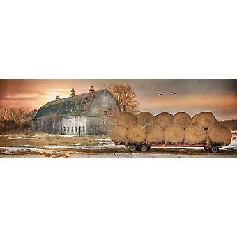Sunset on the Farm Poster Print by Lori Deiter (36 x 12)