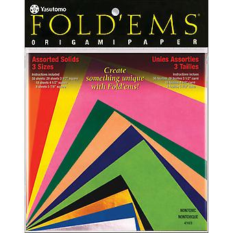 Fold 'Ems Origami Paper 55 Pkg Assorted Colors 4103