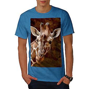Giraffe gezicht kijken mannen Koninklijke Bluetooth-shirt | Wellcoda