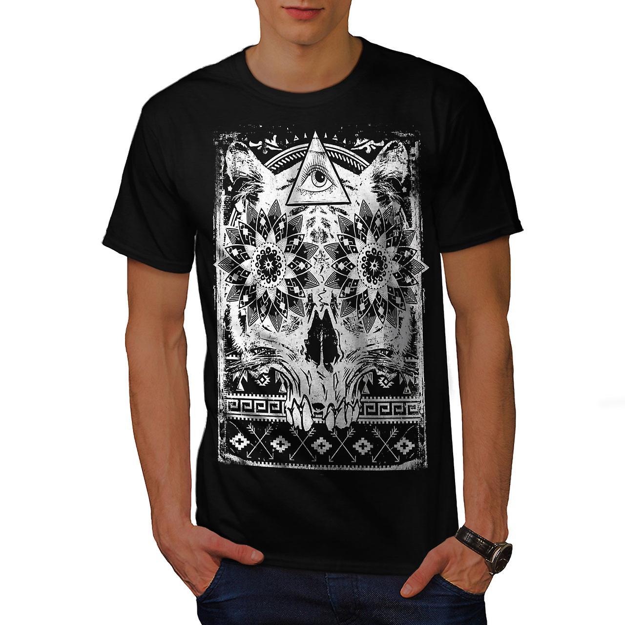 Illuminati Psycho Skull Men Black T-shirt | Wellcoda