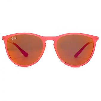 Ray-Ban Junior Izzy Keyhole Round Sunglasses In Fluorescent Transparent Fuchsia Rubber