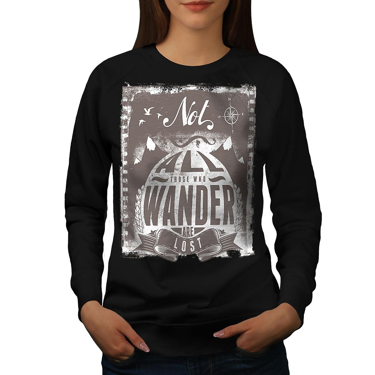 All Who Wander Vintage Women Black Sweatshirt | Wellcoda