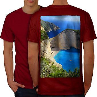 Cliff Ocean Water Men RedT-shirt Back   Wellcoda