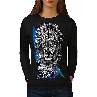 Lion udyret natur kvinder BlackLong ærmet T-shirt | Wellcoda