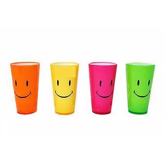 Plastic Neon Beaker 14cm - Smiley 4/Set(Ki3307a)  ~