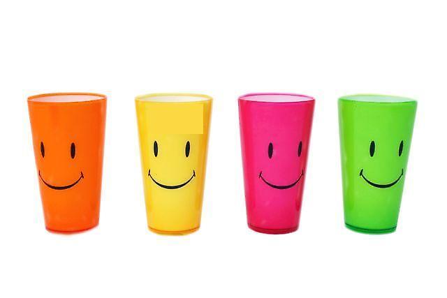 Vaso de precipitados de plástico neón 14cm - Smiley 4/Set ~