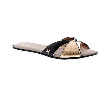 Butterfly Twists Ora - Black/Rose Gold Cracked (Man-Made) Womens Sandals