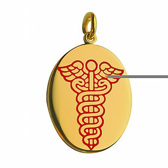 18ct Gold 25x20mm oval medical alarm Disc with vitreous red enamel