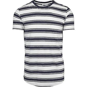 Urban classics - double Stripe Long Shaped tee white / navy