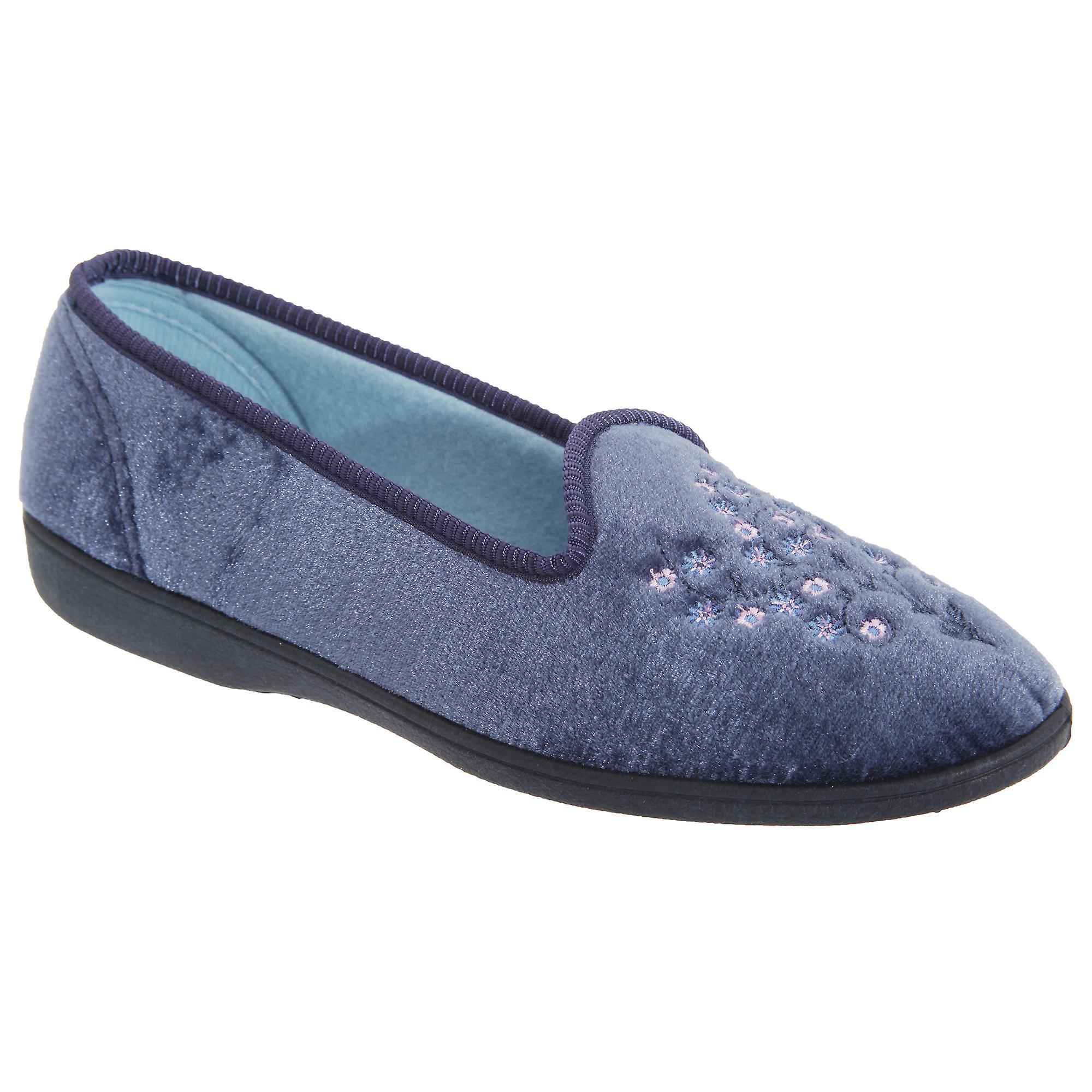 Womens Nieta Plain Sleepers Embroidered Slippers Ladies aOdwEWwq