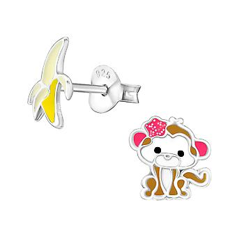 Monkey And Banana - Epoxy Colour + 925 Sterling Silver Colourful Ear Studs - W29133x