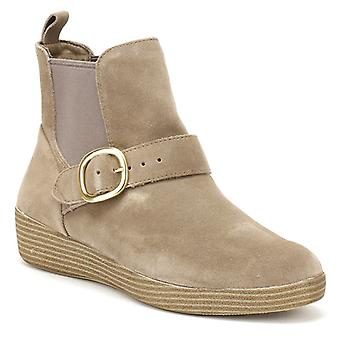 FitFlop Womens Desert Taupe Suede Superbuckle Chelsea Boots