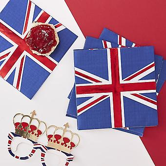 Royal Wedding UNION JACK PAPER NAPKINS x 16 Street Party