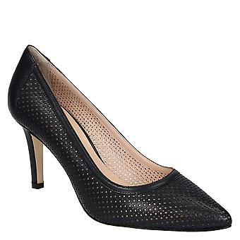 Dark blue perforated calf leather pumps with stiletto heels
