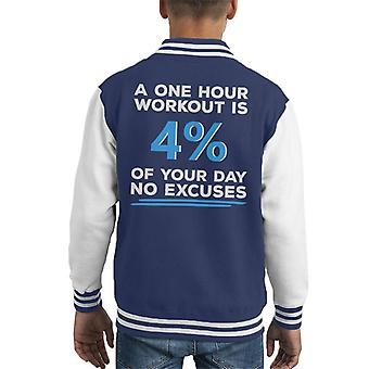One Hour Workout No Excuses Kid's Varsity Jacket