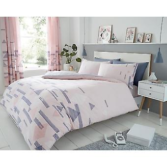 Benton Diamond Triangle 4 Pcs Duvet Cover & fitted sheet Polycotton Bedding Set