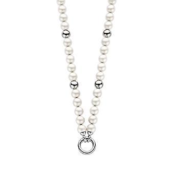 Orphelia perla collana bianco con argento palline ZK-2753