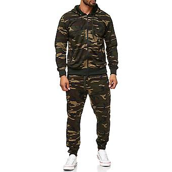 Mens jogging suit camouflage set Hoodie zip sweatpants fitness passar sport